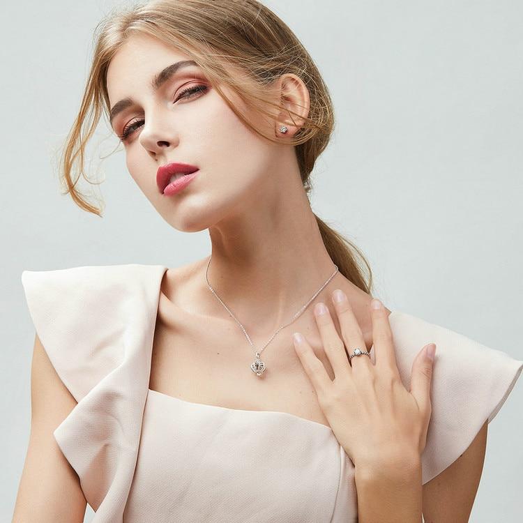 100% 925 Sterling Silver Princess Crown Luminous CZ Stud Earrings