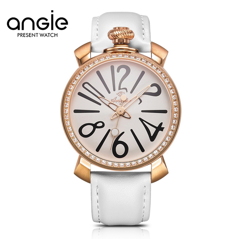 ANGIE Watch Diamond Ladies Casual Watch Fashion Rhinestone Women Dress Watch Leather Quartz Wristwatch clock hours<br><br>Aliexpress