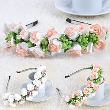 Pink/White Flower Garland Boho Floral Headband Headwear Garland Festival Wedding Bridal Hairband Women  FMHM049#M1