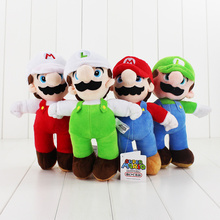 25CM Super Mario plush toy Luigi plush toy 4 styles stuffed soft doll free shipping cute doll for kids great gift for children(China)