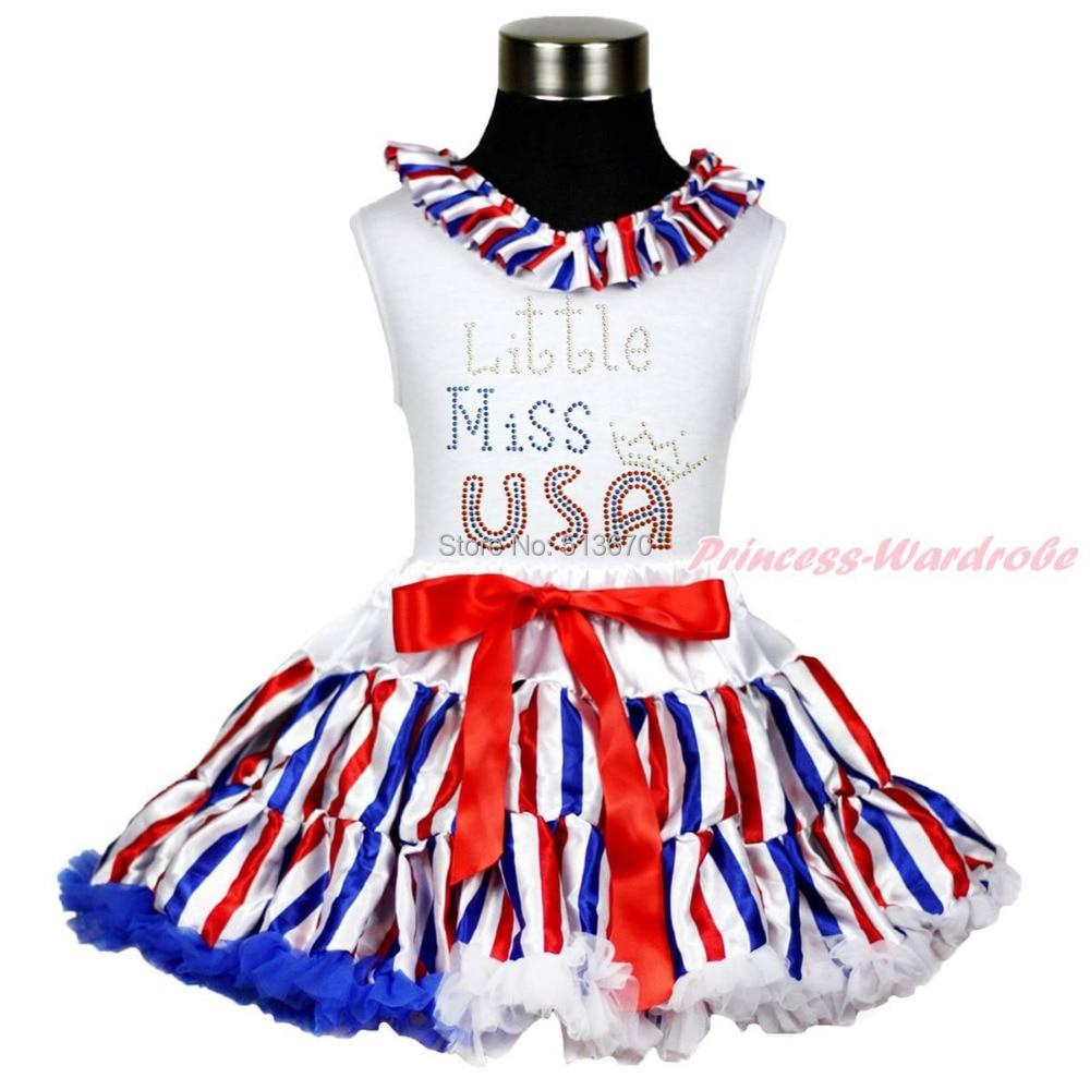 4th July Patriotic Rhinestone LITTLE Miss USA Top Stripe Skirt Girl Cloth 1-8Y MAPSA0593<br>