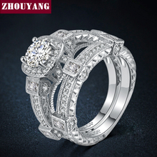Luxury 2 Rings Sets Silver Color Bijoux Fashion Wedding Party Jewelry Cubic Zirconia Jewelry For Women Chirstmas ZYR478(China)