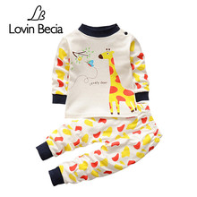 Lovinbecia autumn winter Giraffe pattern boys sweaters toddler children's sweatshirts clothing sets baby casual pajamas suit(China)