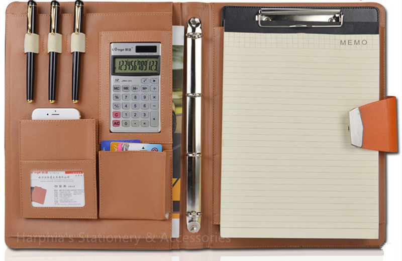 Code Lock A4 business leather portfilio manager document file folder holder brief case with solar calculater with code lock<br>