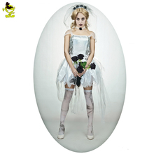 2017 Adult Female Ghost Bride Costume Halloween Zombie Black Corpse Scary Bride Fancy Dress  Costumes For Cosplay
