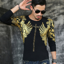 2017 Latest release casual fashion men shirt Rock style men's autumn clothing tops male Bronzing long-sleeved Brand t-shirt