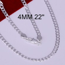 Wholesale 925 sterling solid silver chains necklace 4 mm 8-30inch men fashion necklaces jewelry Colar de Prata