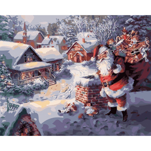 Diy Oil Painting Snow Wall Picture Christmas Gift Coloring By Numbers Santa Claus Canvas Painting Hand Painted Home Decor 6302