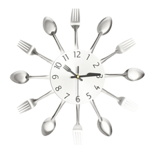 Modern Sliver Multi-color Cutlery Kitchen Wall Clock Spoon Fork Wall Clocks Mechanism New Design Home Decor