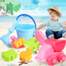 2017  hot Big set Beach Sand Play Toys Set Bucket Rakes Sand Wheel Watering Soft rubber Toys For Children Learning Study Toys