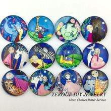 ZEROUP 12mm round photo glass cabochon mixed pattern fit cameo base setting for jewelry flatback 50pcs/lot TP-179-R