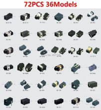 72pcs/36models DC power connector female tablet DC  jack laptop socket terminal 12V  SMD Pin1.0/1.35/2.0