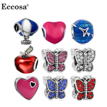 Eccosa Big Hole Beads Enamel Hot Air Balloon Butterfly Beads Fit Diy Pandora Charms Bracelets Wholesale Beads Bijoux Berloques