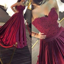 Elegant Burgundy Satin A line Formal Evening Dresses 2017 Lace Applique Sweetheart Neck Prom Dress Party Gown Flooor Length