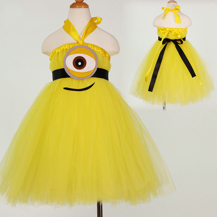 Hotsale halloween costumes for children girl tulle tutu minions girls yellow party dress<br><br>Aliexpress