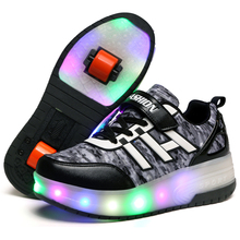 Black Cheap Child Fashion Girls Boys LED Light Roller Skate Shoes for Children Kids Luminous Sneakers with Wheels Two Wheels