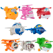 8pcs/Set Super Wings Mini Airplane Robot toy for for Children Action Figures Super Wing Transformation Jet Kids Brinquedos LF741
