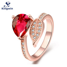 Dubai high quality luxury fashion jewelry from Italian designer wedding ring red stone pink Gold Color size 9