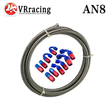 VR - AN-8 STEELNESS / STEEL BRAIDED 5M AN8 STAINLESS Racing Hose Fuel Oil Line + 8AN Fitting 8-AN Hose End Adaptor KIT VR7113+