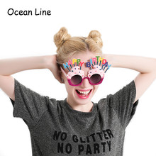Funny Decorative Ice Cream Shaped Happy Birthday Glasses Novelty Costume Sunglasse for Birthday Gift Party Supplies Decoration(China)