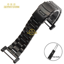 Stainless steel Watchband solid metal watch bracelet strap Double insurance buckle silver black width 24mm for SUUNTO CORE tools(China)