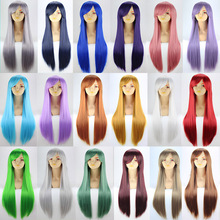 80cm long straight black/white/pink anime cosplay wigs,women's blond/red synthetic hair wig peruca,blue/brown full hair wigs