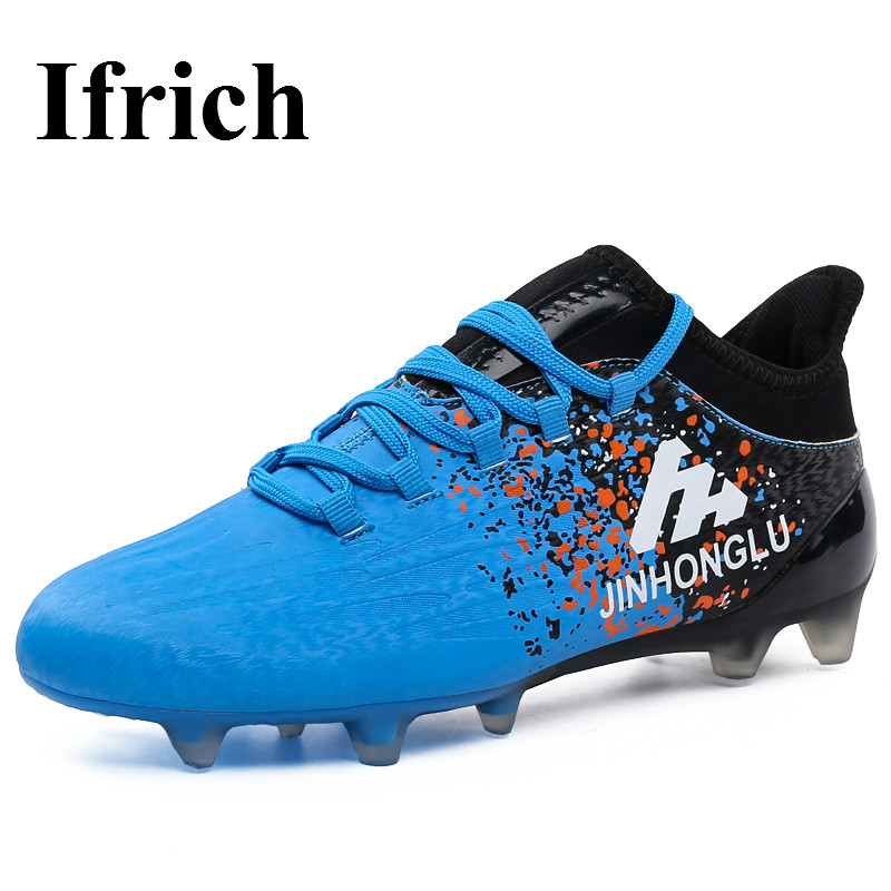 Ifrich 2017 Leather Mens Soccer Boots Outdoor Long Spike Football Shoes Blue Gray Cleats  -  Shecher Store store