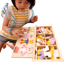 Baby Boy and Girl Puzzle Toys Child Puzzle Toy Margaret Lynx Dresser Wooden Puzzle Dress Up Game 2017 fashion(China)