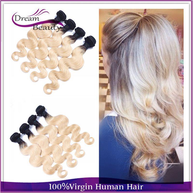 Ombre Blond Malaysian Virgin Hair T1b 613 Blonde Virgin Hair Ombre Weave 4pcs lot 10-30 Malaysian  Body Wave Hair On Big Sale<br><br>Aliexpress