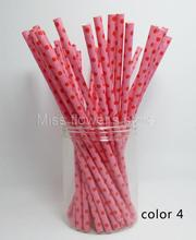 25 Pcs/Pack Paper Straws Festival Pattern Drinking Straw For Valentines Wedding Party Birthday Decoration Color 4