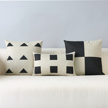 Black and white geometric contracted and contemporary cotton pillowcase car sofa cushion for leaning on of 45 * 45