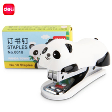 Deli Stapler Set Mini Cartoon Panda Stationery School Office Supplies Paper Binding Binder Book Staples Gift for Girls Boys(China)