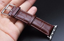 YIFALIAN Luxurious Genuine Leather Band Strap Stainless Steel Buckle Adapter Belt for Apple Watch 38mm 42mm