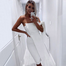 Adyce Celebrity Party Dress Women 2018 New Summer Arrival Casual One Shoulder Tied Elegant Button Tassel Dress Clubwear Vestidos(China)