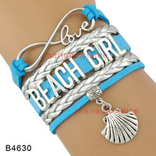 (30 PCS/lot) Infinity Love Beach Girl Blue Silver Leather Wrap Bracelets Seashell Conch Charm Multilayer Girl Fashion Cuff