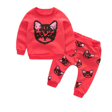 lovely girls clothing sets kids clothes little cat baby girl and boy long sleeve cotton set