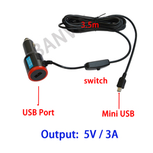 DC 8-36V To 5V 3A Dual USB Car Charger Adapter For Navigation Car DVR Vehicle Charging with switch & 3.5m cable Mini USB Port