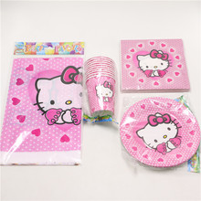 45pcs/lot paper plate cups napkin for 12people use kids boy hello kitty happy birthday pary decoration supplies favor festival