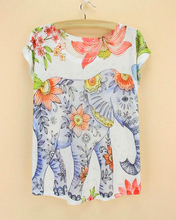 Elephant pattern tshirt women 2015 new arrival summer dress girls novelty printed top tees short sleeve drop shipping