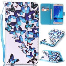 Colorful Printing PU Leather Wallet Purse Book Flip Cover Case for Samsung Galaxy J5 / J3 J5 J7 2016 Phone Case W/ Carry Strap