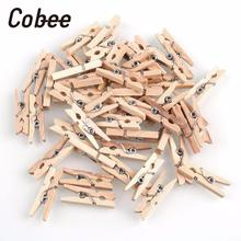 Cobee 150pcs Mini Natural Wooden Clothes Photo Paper Clothespin Craft Clips 25mm Home Wooden Clothes Spring Clips(China)
