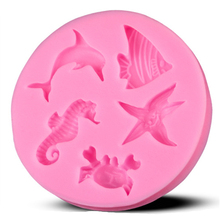 Free shipping Dolphins hippocampus starfish silicone mold chocolate fondant cake decoration Kitchen soap Tools E041
