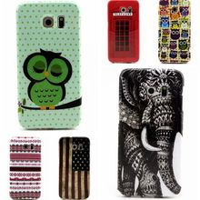For Samsung Galaxy Galaxy S6 G9200 S6 Edge G9250 Cartoon Cute Owl Elephant US American Flag Telephone Box Style Back Cover Shell