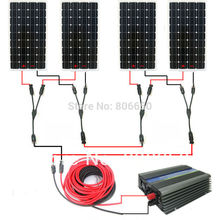 Large USA style solar kit :600w 4*150w mono solar panel system with 500W 24v/120v grid tie invertor# *