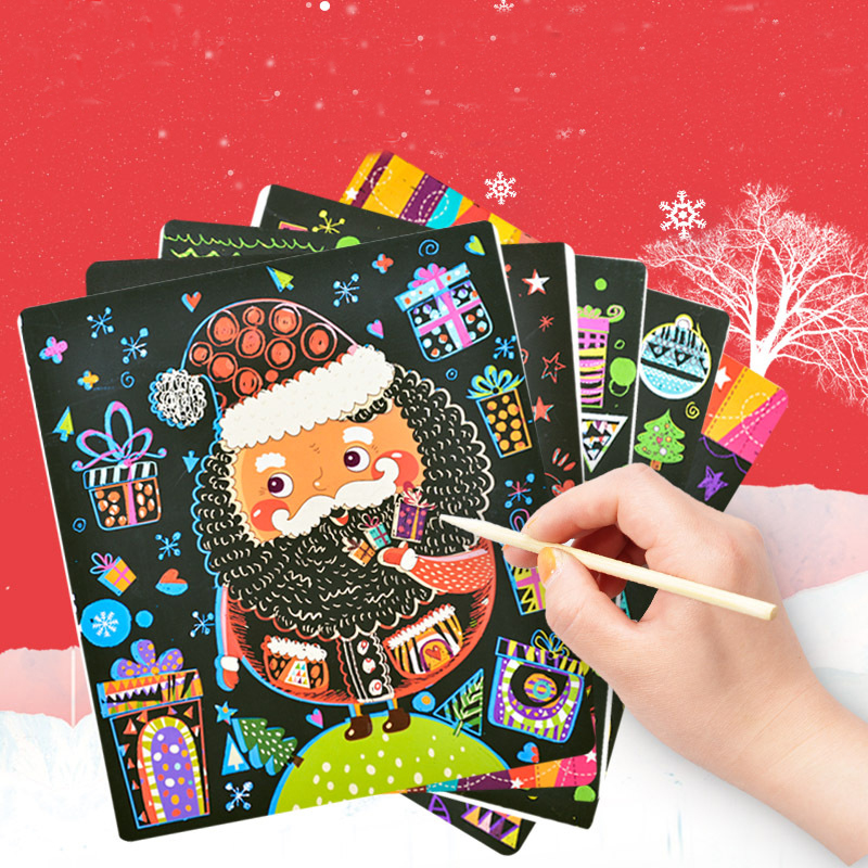 6 Листов 21.5x19 СМ Дети Рождество Царапины Бумага Для Рисования цвет царапины живопись DIY для Детей Образование Игрушка Рождество подарки(China)