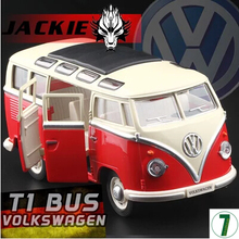 MZ 1:24 VW T1 Bus Type 2 1950 Classic cars Van car model metal pull back sound light kids toy Volkswagen free shipping gift boy