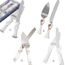 2 PCS Stainless Steel Wedding Rhinestone Cake Knife Cutter Server Set for Wedding Anniversary with Box