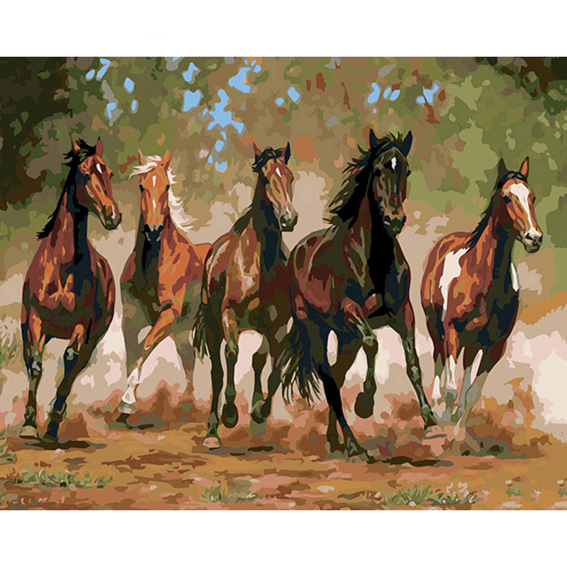 Frameless 50x40cm Diy Painting By Numbers Landscape on Canvas Horse Galloping Oil Paintings for Living Room Wall Art Home Decor