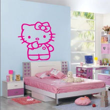 Cute Hello Kitty Living Room Bedroom Decor Mural Art Vinyl Wall Decal Sticker 57X70CM(China)
