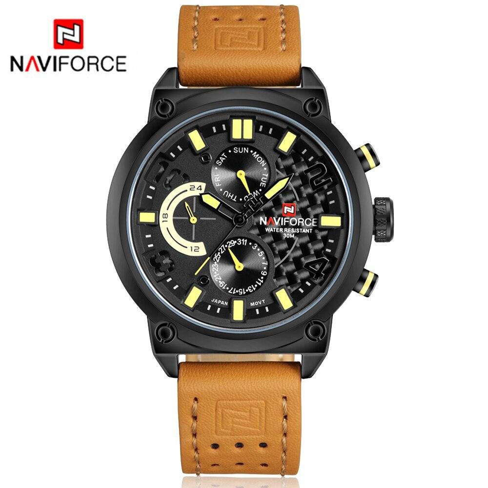 Famous Brand Naviforce Watch Men Sport Wristwatch Luxury Genuine Leather Relogio Masculino Fashion Waterproof Watch Men LX50<br><br>Aliexpress